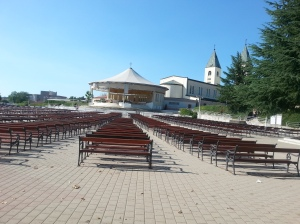 Outside seating empty before Adoration