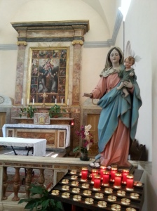 Photo of Altar with Statue of Virgin Mary and Child Jesus