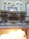 St Sebastien relics and altar