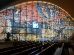 The artwork on blinds in the modern church