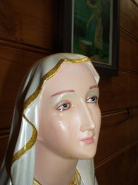 A statue of Our Lady of Lourdes weeps tears of what appear to be an oil-like substance in the home of its owner Patty Powell in the southern Perth suburb of Rockingham, Western Australia earlier this year. SEE: WEEPING STATUE