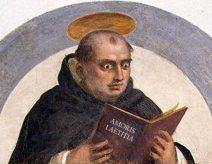 santo tomas de Aquino leyendo la heretica Amoris Laetitia