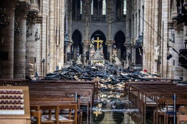 Interior Notre Dame post fire