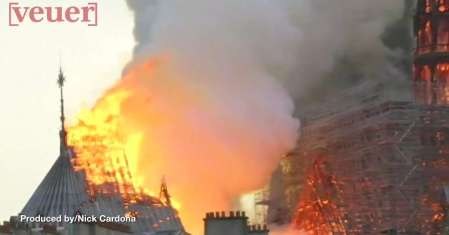 Roof of Notre Dame burning