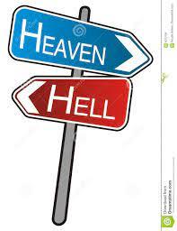 heaven hell signpost