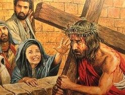 Jesus meet Mary on way of cross