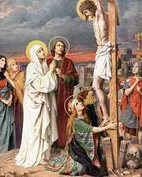 May and John at foot of cross